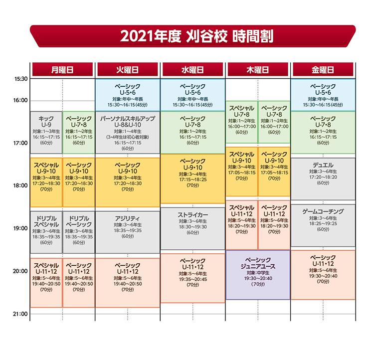 刈谷スクール時間割2021
